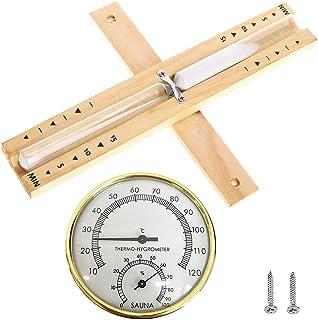 CJBIN Accessoires Sauna, 2 en 1 Thermometre Hygrometre Interieur avec Sablier Sauna Sablier Sauna en Bois 15 minutes pour ...