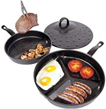 Frying Pan Set, Divide 3 in 1 Frying Pan Non Stick Surface Separate Cooking Space Easy Clean Simmer Lid Fits Both Pans [Bl...