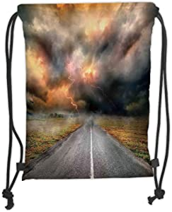 Trsdshorts Lake House Decor Dusty Storm Clouds and Lightning over Highway the Field Electrical Activity Print Orange Grey Soft Satin 5 Liter Capacity Adjustable