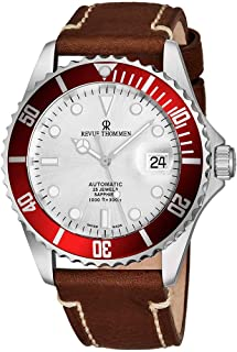 Revue Thommen Mens Automatic Diver Watch - 42mm Analog Silver Face Diving Watch with Luminous Hands, Date and Sapphire Crystal - Brown Leather Band Swiss Made Waterproof Dive Watch 17571.2526