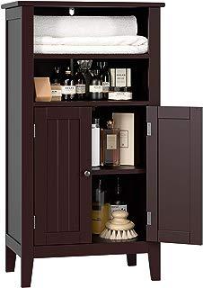 HOMFA Bathroom Floor Cabinet Wooden Storage Organizer with Double Doors Adjustable Shelf Free Standing Kitchen Cupboard for Home Office, 19.6L x 11.8W x 36.2H Dark Brown