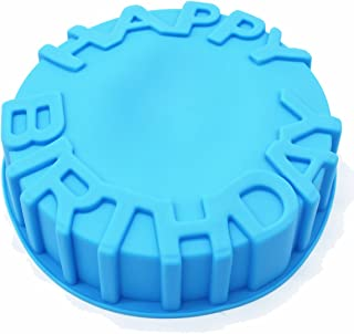 X-Haibei 7inch Happy Birthday Cake Mold Pan Chocolate Pizza Baking Tray Silicone Mould