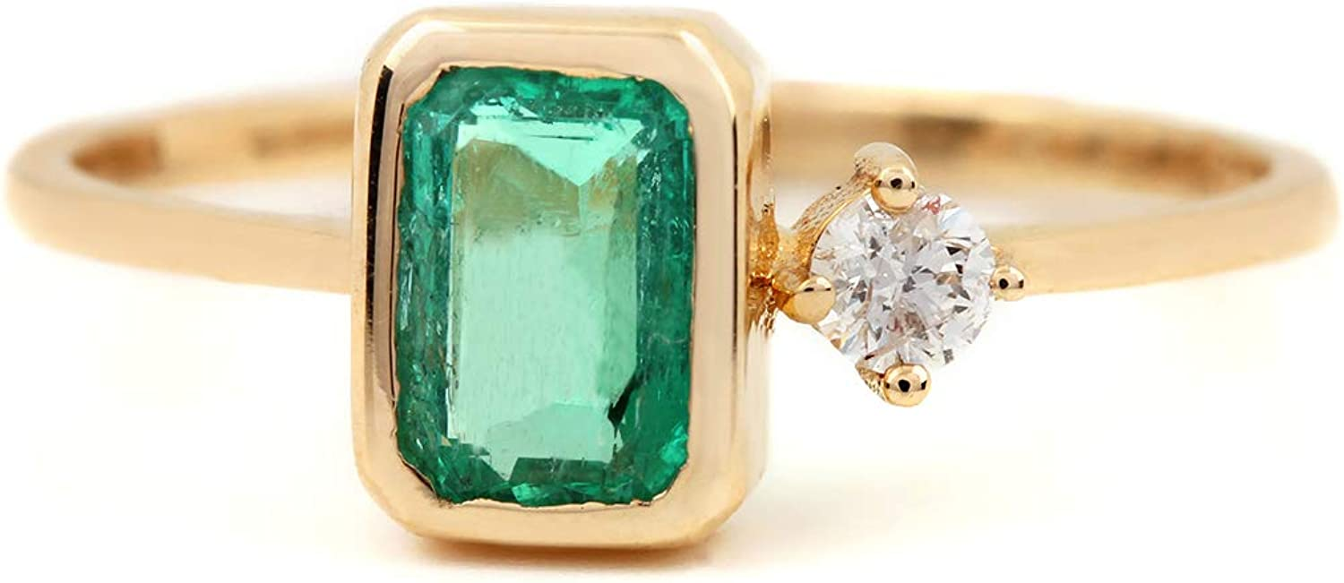 ASHNE JEWELS IGI Certified, Natural 0.62ct Emerald Gemstone Ring 0.07ct Real Diamond Fine Jewelry Made in 14K Solid Yellow Gold For Women and Girls