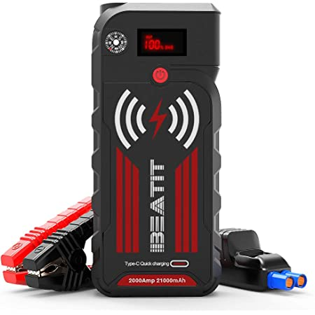 BEATIT G18 QDSP 2000Amp Peak 12V Portable Car Jump Starter (Up to 8.0L Gas and Diesel) 21000mAh Power Bank with Wireless Charger Car Battery Charger Smart Jumper Cables