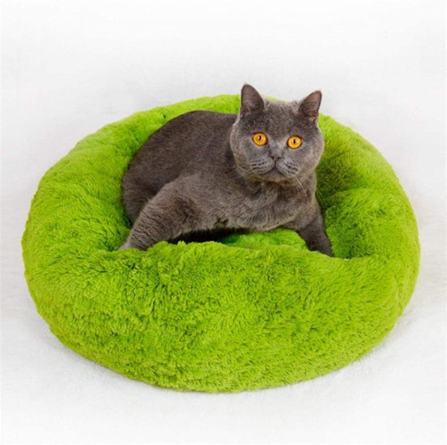 Luxury Dog Bed Warm Deep Sleep Thick Donut Pet Beds for Cat Small Medium Dogs LongPile Plush Soft Round Dog House (L 70cm 15kg Pet,Green)