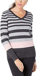 Karen Scott Women's Cotton Colorblocked Ribbed-Knit Sweater, Grey Combo, Small
