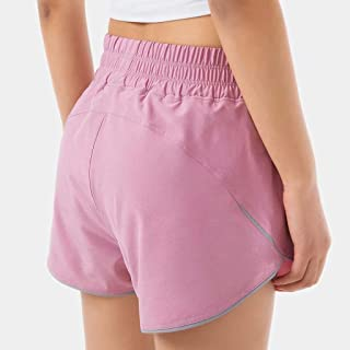 Lightweight Breathable Quick-Drying Sports Shorts Women High Waist Loose Running Shorts,Pink(S)