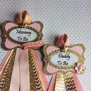 Gold & Pink Princess Baby Shower Corsage, Personalized Baby Shower Corsage, Add a Guest Pin
