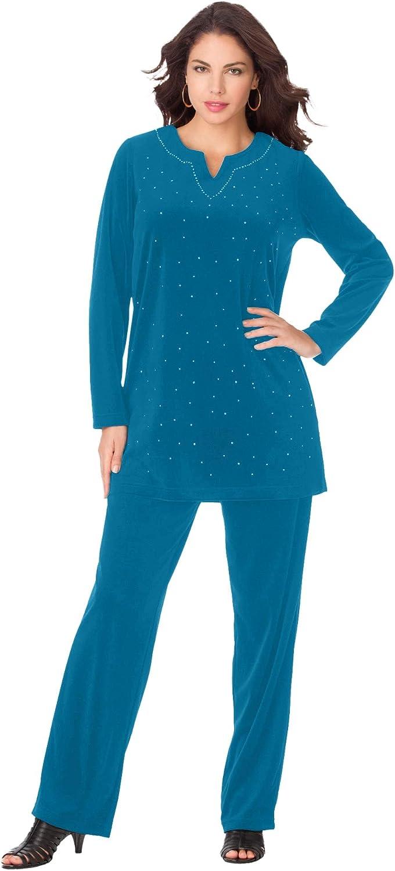 Roaman's Women's Plus Size Velour Tunic & Pant Set Matching Long Shirt Lounge