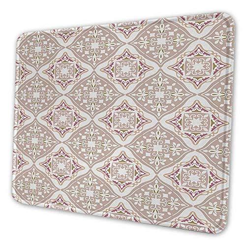 Marokkanische Mauspad Muster pastellfarbene komplexe Fliesen mit mathematischen Formen alte persische Kunst personalisierte Ihr Gaming-Mauspad beige rosa weiß