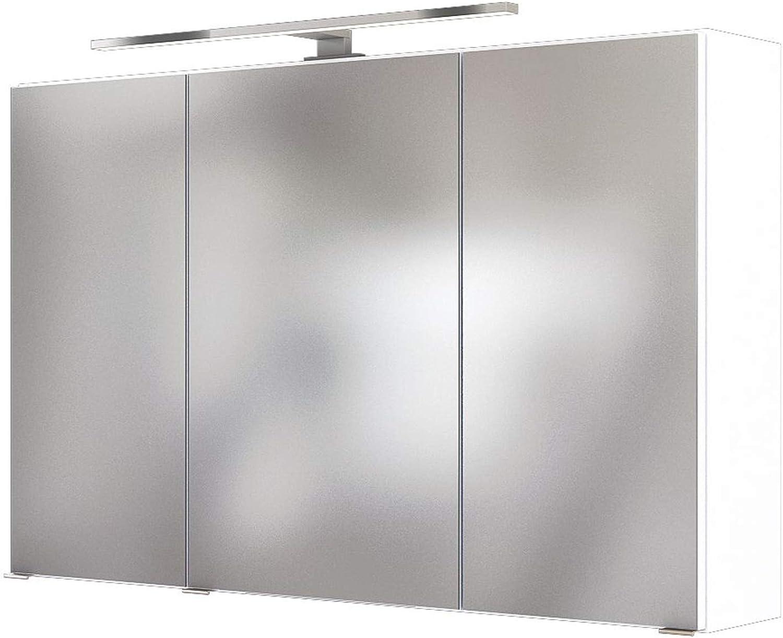 3D-Spiegelschrank Badschrank Hngeschrank Spiegel Wandschrank Badmbel Baabe I Wei 100 cm