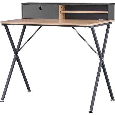 WOLTU TS122hei Table de Bureau Industriel en Panneaux de Particules et Acier, Table de Travail Table d'ordinateur Table de Rangement 90x50x88,5cm,Chêne Clair+Gris