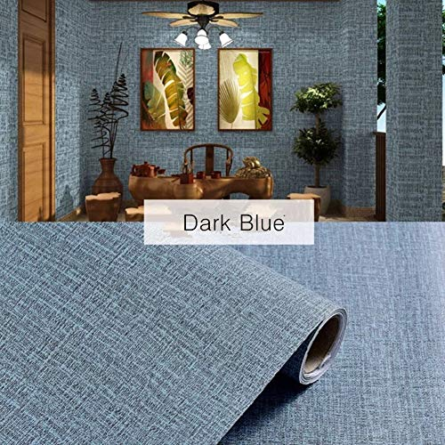 "Yancorp Faux Grasscloth Peel Stick Wallpaper Fabric Self-Adhesive Contact Paper Linen Removable Fireaplace Kitchen Backsplash Wall Stickers Door Sticker Counter Top Liners (15.7"" x 120"", Deep Blue)"
