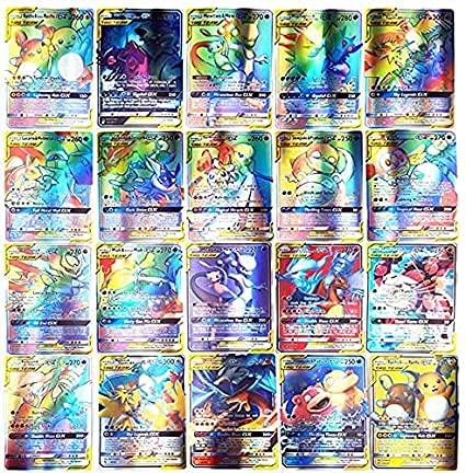 AUMIDY Pokemon Cartes, Jeux De Cartes 100 Pcs Poke-mon Cartes Style, 95GX + 5 Mega, Carte de Jeux Poké-mon Cartes, GX EX Trading Cards