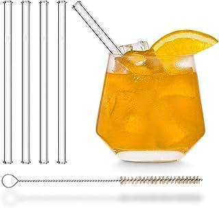 HALM Glas Strohhalme kurz - 4 Stück gerade 15 cm - Glasstrohalme Set Wiederverwendbar  plastik-freie Reinigungsbürste - Glas-Trinkhalme für Cocktail Gläser, Kinder Trinkgläser - Smoothie Strohhalme