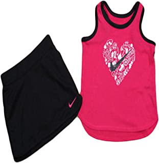 Nike Little Girls Two Piece Tank and Shorts Set (4T, Black)