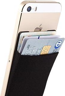 Sinjimoru Smart Wallet (aufklebbarer Kreditkartenhalter) /Smartphone Kartenhalter/Handy Geldbeutel/Mini Geldbörse/Kartenetui für iPhones und Android Smartphones. Sinji Pouch Basic 3, Schwarz.