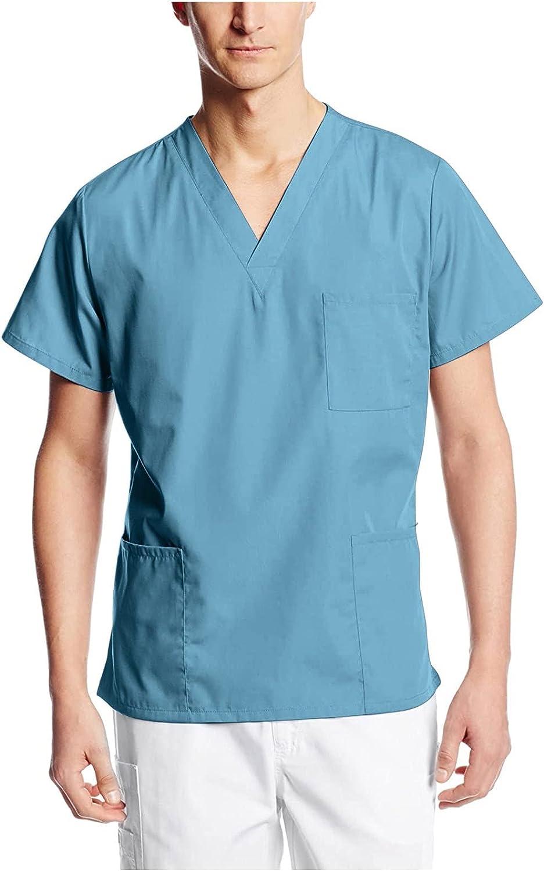 Uniforme Sanitario Hombre Ropa Trabajo Pijama Casaca Cuello en V, Enfermera Estetica Peluqueria Veterinaria Hospital Limpieza y Empleado Hogar para SPA, Enfermeras, Estudiantes y Enfermería