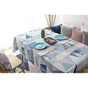Morbuy Manteles Antimanchas, Mantel Rectangular de Antimanchas Impermeable Algodón Multicolor Vintage Decoración (100 * 140, Azul): Amazon.es: Hogar