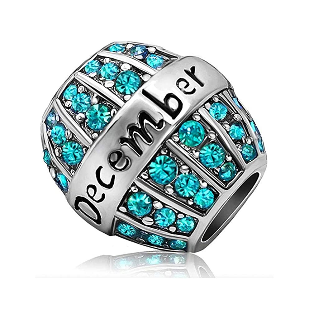 Hemotone 12 Months Pendants Silver Creative Birthstone Crystal Charms Fit Beads Wedding Jewelry Bracelet Necklace Pendant (December Teal)