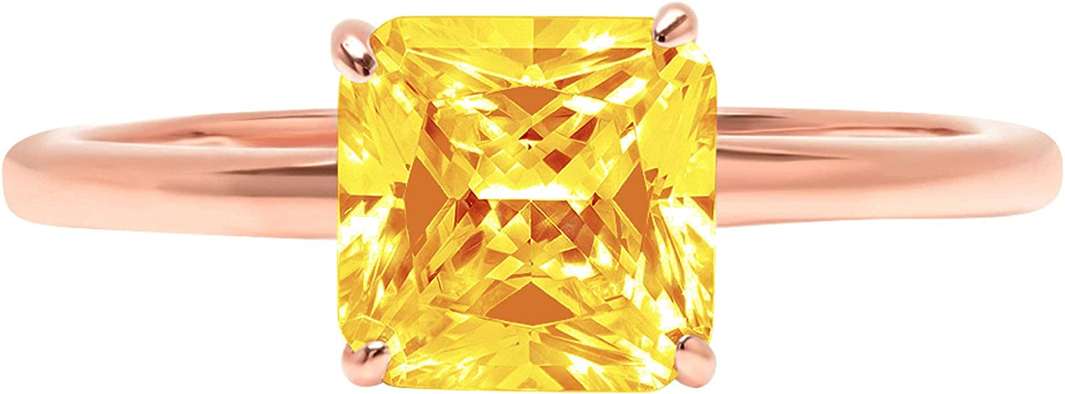 2.4ct Brilliant Asscher Cut Solitaire Natural Yellow Citrine Ideal VVS1 4-Prong Engagement Wedding Bridal Promise Anniversary Ring Solid 14k Pink Rose Gold for Women