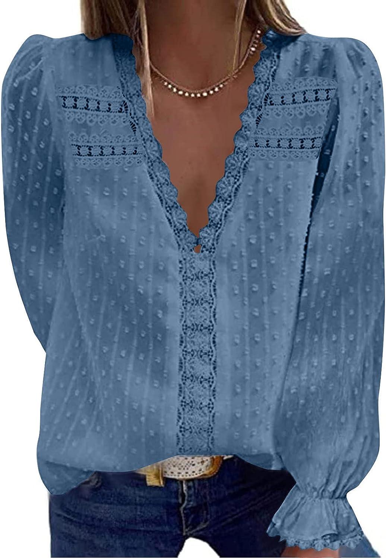 SZITOP Women's Tops Fashion Sexy Solid Lace V-Neck Long Sleeve Hollow Chiffon Shirt Tunic Blosue Sweater Sweatshirt Pullover