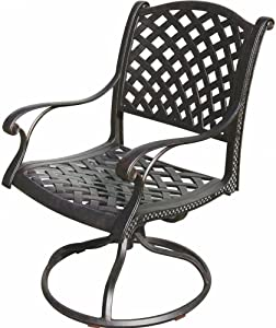 K&B PATIO LD1031-11 Nassau Swivel Rocker Chair, Antique Bronze