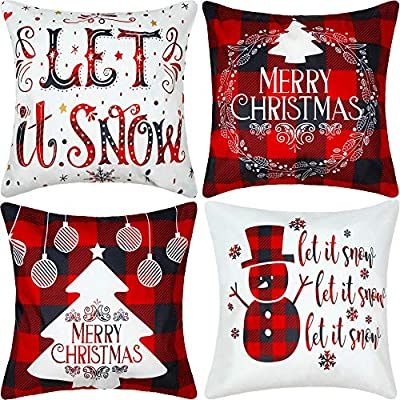 Jetec 4 Pieces Christmas Decorative Pillow Cover Buffalo Plaid Sofa Back Throw Cushion Cover for Winter Christmas Thanksgiving Day Home Decoration, 18 by 18 Inches (Chic Color)