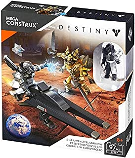 Mega Construx Mega Bloks Destiny S-34 Ravensteel Sparrow Exclusive Warlock Dead Orbit, Fallen Captain Figure Set Model # FFB 57