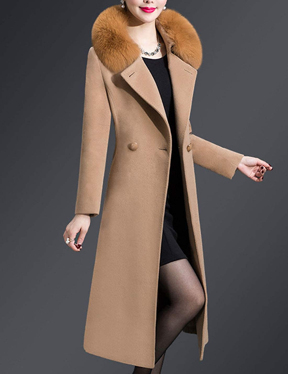 Uaneo Women's Casual Slim Faux Fur Collar Double Breasted Long Wool Pea Coats(Camel-XS)