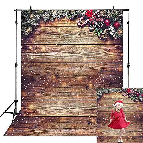 Avezano Fondo de madera de copo de nieve dorado con purpurina para pared de Navidad, fondo de suelo de madera para niños Retrato de estudio de fotos Fotógrafo, 4 x 6 pies