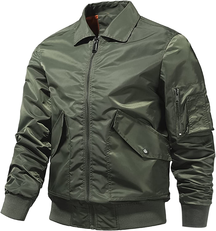 Huangse Men's Plus Size Autumn Thick Bomber Jacket Casual Multi Pocket Military Jacket Zipper Varsity Jacket Coat