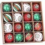 Sea Team 80mm/3.15' Set de Navidad Brillantes delicados artilugios Decorativos, Pintado en Color de Contraste decoración de Bolas Colgantes de árboles de Navidad - 16 Piezas