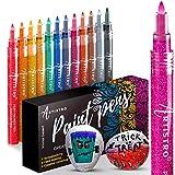 Bolígrafos con purpurina para dibujar piedras, guijarros, revistas de álbumes de recortes, cartulina, proyectos de papel, colorear. Juego de 12 rotuladores acrílicos brillantes, 0,7 mm