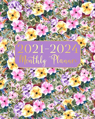 2021-2024 Monthly Planner: Purple Flowers Four Year Monthly Planner 48 Months Calendar Agenda Schedule Organizer And Appointment Notebook With Federal Holidays And Inspirational Quotes