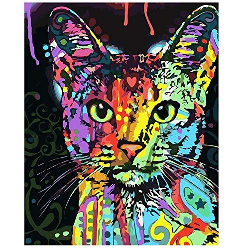 Abstrakte tierische niedliche Katze Poster und Drucke für Kinder Wohnzimmer Dekoration Graffiti Kunst Leinwand Malerei Wandbild Familie rahmenlose dekorative Malerei Z74 60x90cm