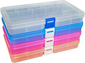 DUOFIRE Plastic Organizer Container Storage Box Adjustable Divider Removable Grid Compartment for Jewelry Beads Earring Container Tool Fishing Hook Small Accessories (15 grids, 4 Colors)