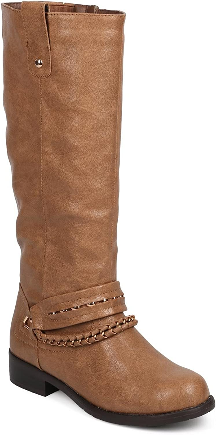 Bumper Women Leatherette Round Toe Knee High Covered Stud Chain Riding Boot DH05 - Coffee