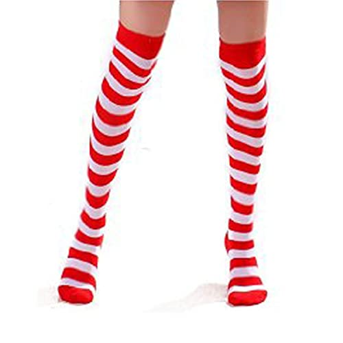 eb553c540 Ladies Red And White Striped Over The Knee Socks