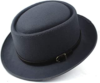 LiJuan Shen Pork Pie Hat For Women Men With Leather Dad Wool Flat Fedora Hat Porkpie Church Fascinator Gambler Trilby Hat