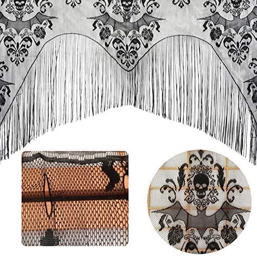 Chaud Halloween gothique noir dentelle gland chauves-souris Tulle chapeau châle hanté maison fête rideau tissu nappe fournitures de fête