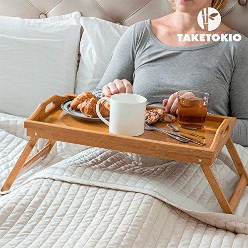 SONGMICS Bandeja para la cama con patas Mesa de comedor plegable de...