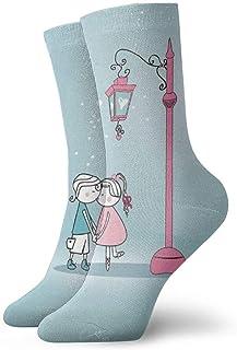 tyui7, Pareja en The Lamplight Calcetines de compresión antideslizantes Cosy Athletic 30cm Crew Calcetines para hombres, mujeres, niños