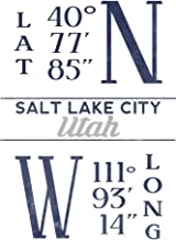Salt Lake City, Utah - Latitude and Longitude (Blue) 67569 (16x24 SIGNED Print Master Art Print - Wall Decor Poster)