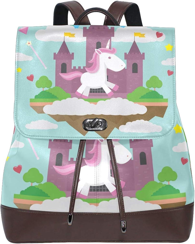 DEZIRO Leather Baby Unicorn and Castle School Pack Backpacks Travel Bag