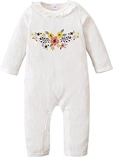 الوليد الطفل بنين بنات رومبير القطن زهرة طويلة الأكمام فراشة بذلة الرضع (Color : White, Kid Size : 9-12 Months)