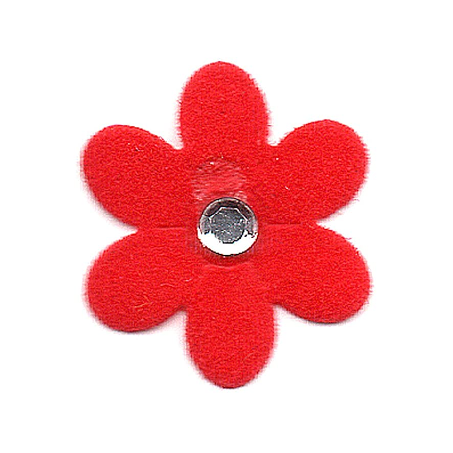 Venus Ribbon Iron-On Suede Flower with Rhinestone Applique, 4-Piece, 3/4-Inch by 3/4-Inch, Red
