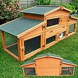 großer Hasenstall mit Dach zum Öffnen - aus massiven Vollholz ideal für draußen - Einfach zu reinigen dank der extra hohen Kotschublade - Kleintierstall mit ungiftiger Farbe gestrichen Kaninchenstall