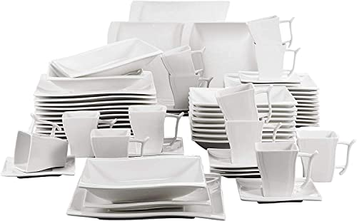 MALACASA Série Flora 60pcs Service de Table Porcelaine 12 Assiettes Plates 12 Tasses 12 Soucoupes 12 Assiettes à Dess...