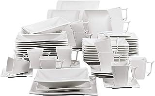 MALACASA Série Flora 60pcs Service de Table Porcelaine 12 Assiettes Plates 12 Tasses 12 Soucoupes 12 Assiettes à Dessert 1...